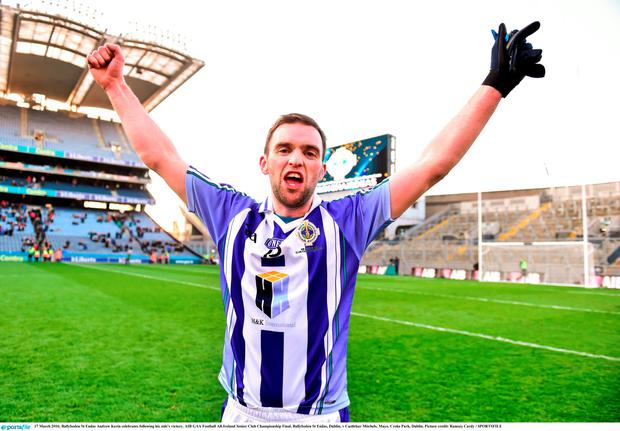 17 March 2016; Ballyboden St Endas Andrew Kerin celebrates following his side's victory. AIB GAA Football All-Ireland Senior Club Championship Final, Ballyboden St Endas, Dublin, v Castlebar Mitchels, Mayo. Croke Park, Dublin. Picture credit: Ramsey Cardy / SPORTSFILE