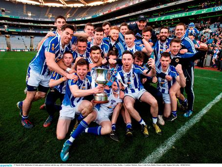 17 March 2016; Ballyboden St Endas players celebrate with the cup. AIB GAA Football All-Ireland Senior Club Championship Final, Ballyboden St Endas, Dublin, v Castlebar Mitchels, Mayo. Croke Park, Dublin. Picture credit: Stephen McCarthy / SPORTSFILE