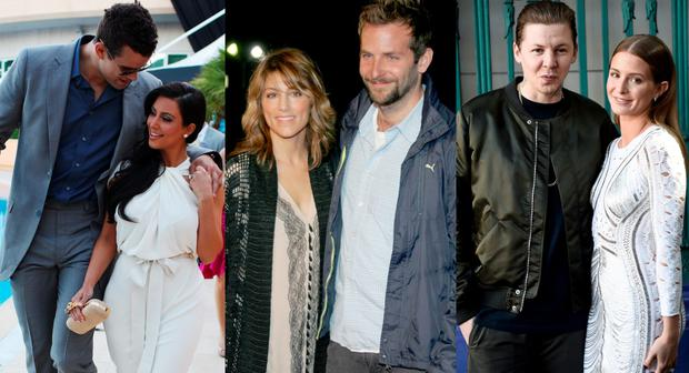 (L to R) Kris Humphries and Kim Kardashian; Jennifer Esposito and Bradley Cooper; Professor Green and Millie Mackintosh
