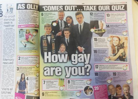 The 'How Gay Are You' quiz appeared in The Irish Sun on St. Patrick's Day