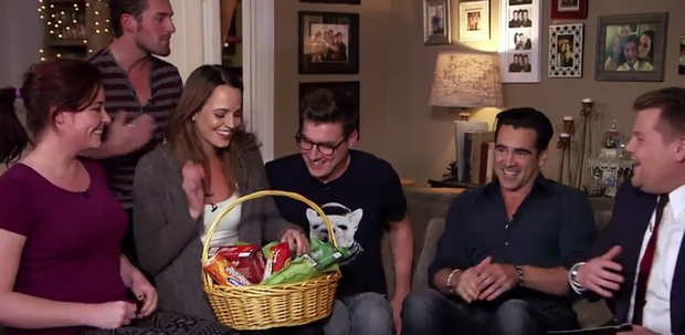 Colin Farrell surprises a fan with a gift basket as part as James Corden hosts the Late Late Show from her home. Photo: CBS.
