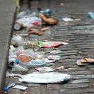 Litter left in the gutter in Temple Bar. Photo: Tony Gavin
