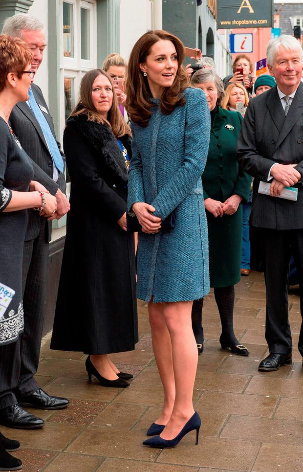Britain's Catherine, Duchess of Cambridge, Royal Patron of East Anglias Childrens Hospices (EACH), meets with members of the public on a visit to open a new EACH charity shop in Holt