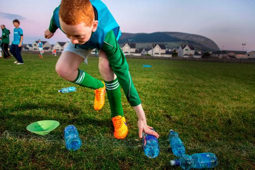 James Parkes grabs a water bottle at Strand Celtic FC, Strandhill, Co Sligo, which has banned energy drinks. Photo: James Connolly