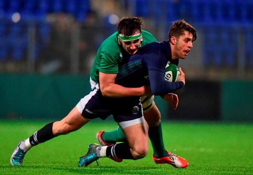 Scotland's Adam Hastings is tackled by Greg Jones of Ireland during U20's Six Nations clash at Donnybrook last night. Photo: Sportsfile