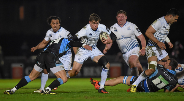 18 March 2016; Garry Ringrose, Leinster, is tackled by Grayson Hart, Glasgow Warriors. Guinness PRO12 Round 9 Refixture, Glasgow Warriors v Leinster. Scotstoun Stadium, Glasgow, Scotland. Picture credit: Stephen McCarthy / SPORTSFILE