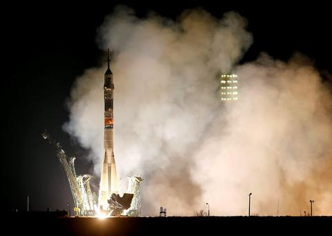 The Soyuz TMA-20M spacecraft carrying the crew of Jeff Williams of the U.S., Alexey Ovchinin and Oleg Skripochka of Russia blasts off to the International Space Station (ISS) from the launchpad at the Baikonur cosmodrome, Kazakhstan. ReutersShamil Zhumatov