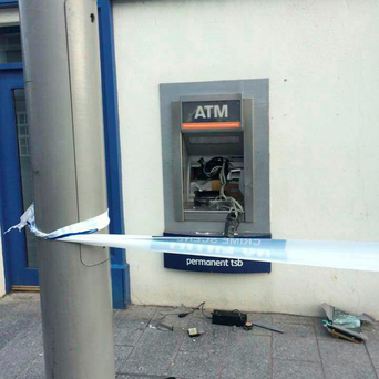 The ATM damaged by raiders in Greystones, Co Wicklow