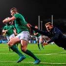 Tom Galbraith fails to prevent Jacob Stockdale from scoring. Photo: Sportsfile