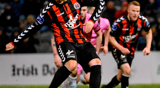 Mark Quigley, Bohemians, scores his side's third goal from a late penalty Photo: Piaras Ó Mídheach / SPORTSFILE