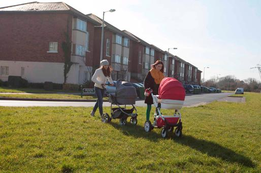 Two young residents who have received notices to quit at the Cruise Park housing estate in Tyrellstown, West Dublin. Photo: RollingNews.ie