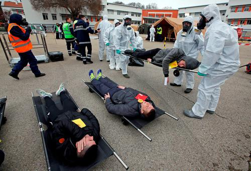 French emergency personnel take part in a mock terrorist attack drill in Nîmes. Photo: Reuters