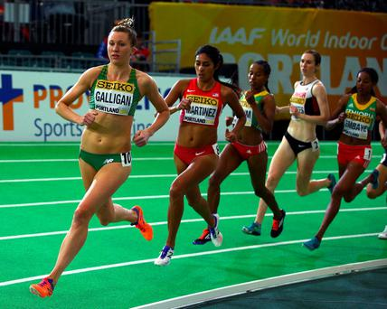'Galligan (L) positioned herself towards the front of the race for the first half but had no answer when Ethiopia's Dawit Seyaum surged with two laps remaining' Photo: Ian Walton/Getty