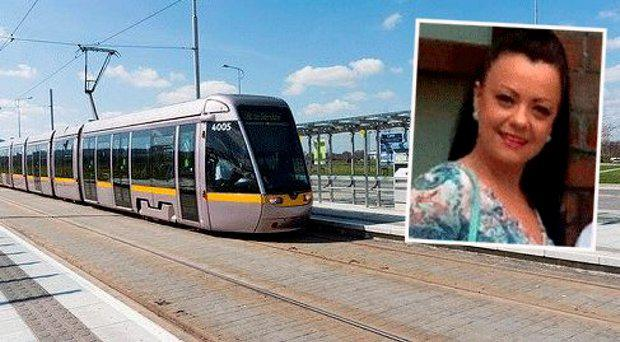Luas Citywest stop where the incident happened, inset Sheryl Hoey