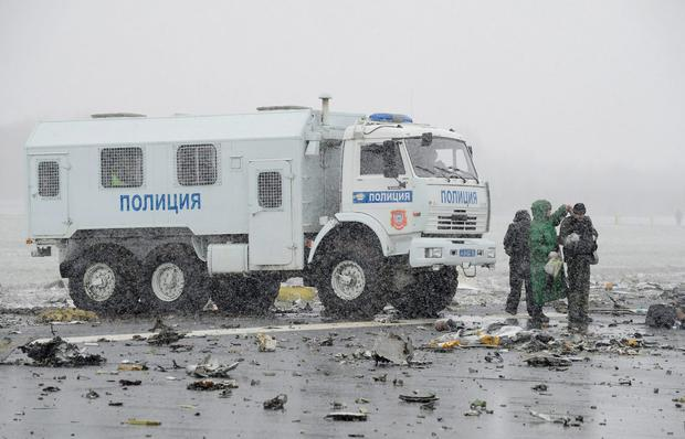 A police truck is seen at the crash site of Flight number FZ981, a Boeing 737-800 operated by Dubai-based budget carrier Flydubai, at the airport of Rostov-On-Don, Russia, March 19