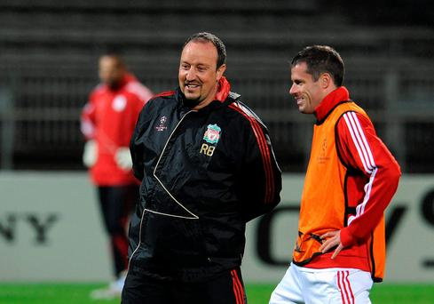 Rafa Benitez with Jamie Carragher during Liverpool days