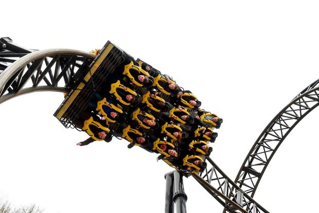The Smiler ride at Alton Towers Resort in Staffordshire, as the theme park has reopened the rollercoaster - nine months after an accident which left five people with serious or life-changing injuries