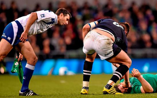 Ryan Wilson, Scotland, tussles with Jonathan Sexton, Ireland off the ball. RBS Six Nations Rugby Championship, Ireland v Scotland. Aviva Stadium, Lansdowne Road, Dublin. Picture credit: Ramsey Cardy / SPORTSFILE