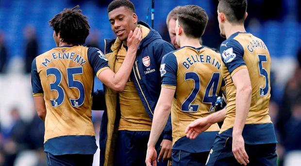 Arsenal's Alex Iwobi is congratulated by team-mates after the final whistle. Photo: Peter Byrne/PA Wire