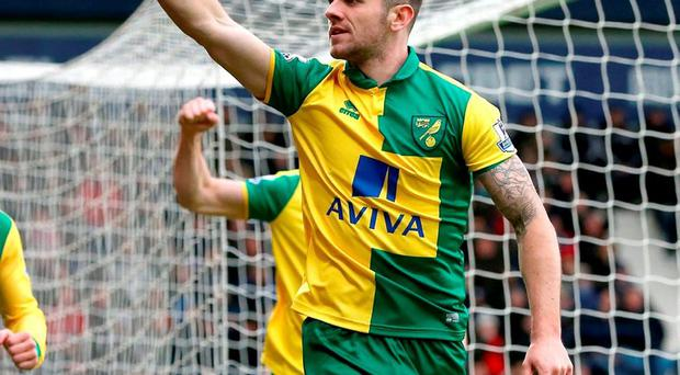 Norwich City's Robbie Brady celebrates scoring the winning goal. Photo: Martin Rickett/PA Wire