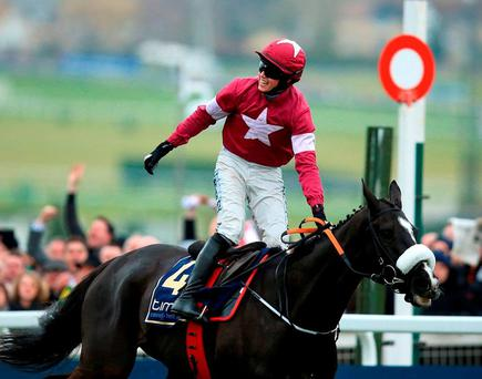 Bryan Cooper celebrates his Gold Cup victory on Don Cossack at the Festival-of-all-Festivals. Photo: Mike Egerton/PA Wire