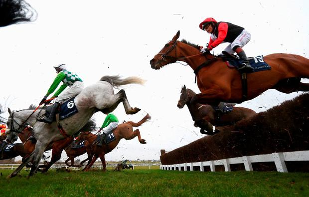 Victoria Pendleton on Pacha Du Polder during the Foxhunter Chase at Cheltenham on Friday. Photo: Michael Steele