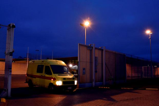 An ambulence leaves a prison in Bruges where Salah Abdeslam is being held, Belgium, March 19, 2016. Salah Abdeslam, the most-wanted fugitive from November's Paris attacks, was arrested after a shootout with police in Brussels on Friday