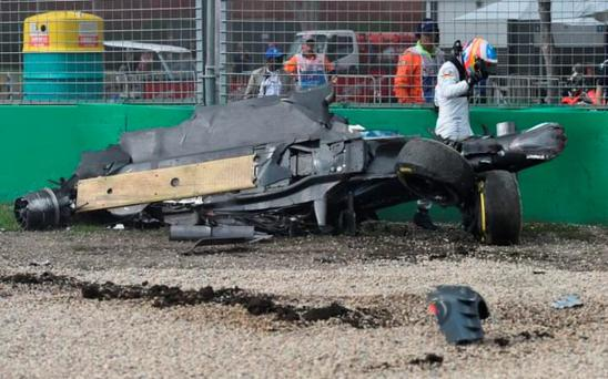 Fernando Alonso walks away from the crash unscathed
