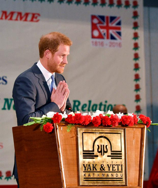 Prince Harry speaks during a welcoming reception at the Yak & Yeti Hotel in Kathmandu, as he begins his five day tour of Nepal