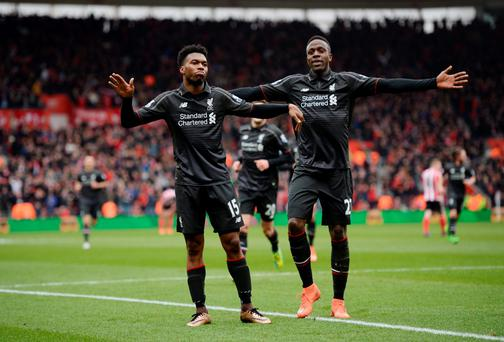 Liverpool's Daniel Sturridge celebrates scoring their second goal