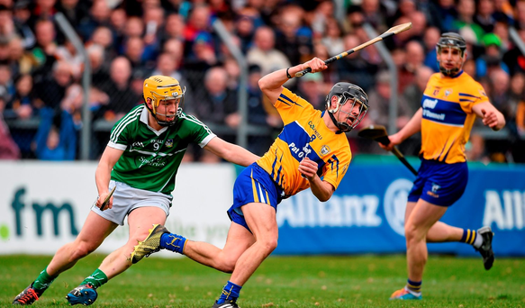 David Reidy, Clare, in action against Paul Browne, Limerick