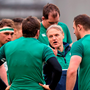 Ireland head coach Joe Schmidt speaks to his players ahead of the game
