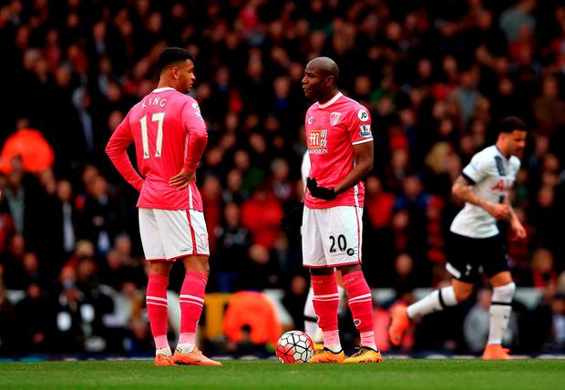 AFC Bournemouth's Joshua King (left) and Benik Afobe appear dejected after they concede a second goal
