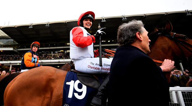 Victoria Pendleton on Pacha Du Polder after the 4.10 St. James's Place Foxhunter Chase Challenge Cup