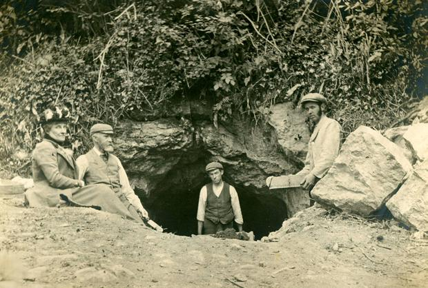 Some of the 1903 team outside the Alice and Gwendoline cave in Co Clare. Image courtesy of National Museum of Ireland