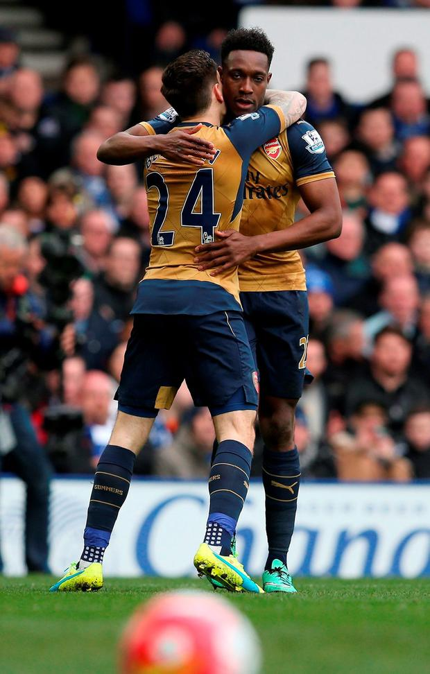 Arsenal's Danny Welbeck and Hector Bellerin. Photo: Getty