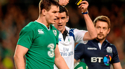 Referee Pascal Gauzère after showing Johnny Sexton his yellow card Photo: Matt Browne / SPORTSFILE