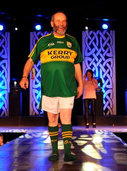 Left: Danny Healy Rae strutting his stuff on the catwalk at the St Paul's Basketball Club Killarney fashion show at Killarney Racecourse. Photo: Eamonn Keogh