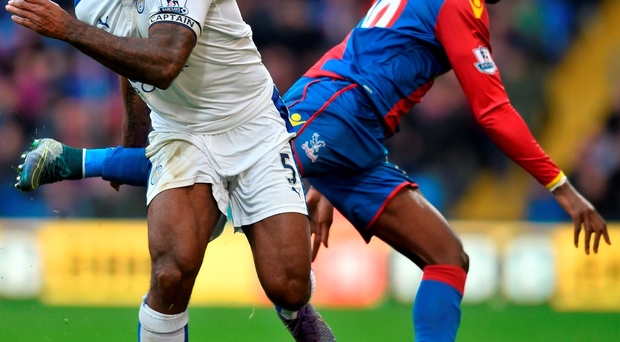 Wes Morgan gets the better of Crystal Palace's Yannick Bolasie Photo: Michael Regan/Getty Images