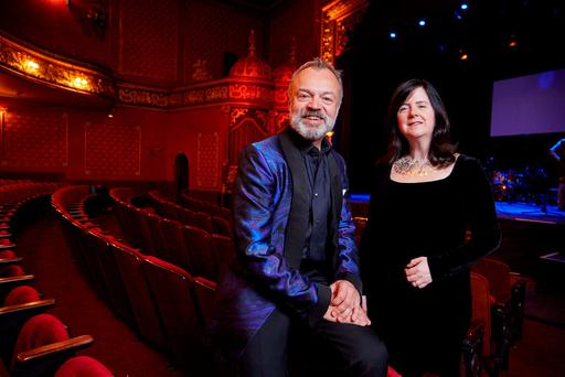 Graham Norton with Elaine O'Driscoll, mum of Helen Fennell, before last night's concert in the Everyman Palace Theatre. Picture: Miki Barlok