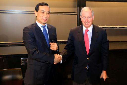 Anbang Insurance Group founder and chairman Wu Xiaohui, pictured last year with Blackstone's Stephen Schwarzman. Photo: Bloomberg