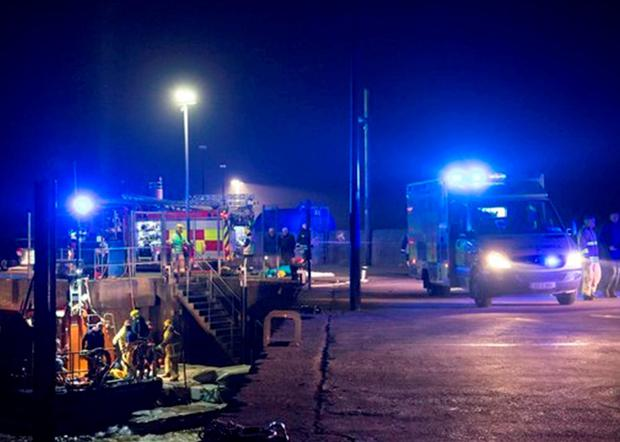 An ambulance and a fire engine at the scene of the tragedy Photo: Justin MacLochlainn