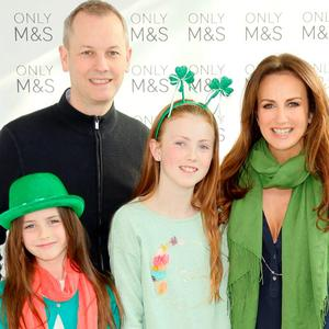 Peter, Romy and Emilia Devlin with Lorraine Keane at the annual Marks & Spencer St Patrick's Day breakfast in the M&S Grafton Street Rooftop Café. Picture: Kieran Harnett
