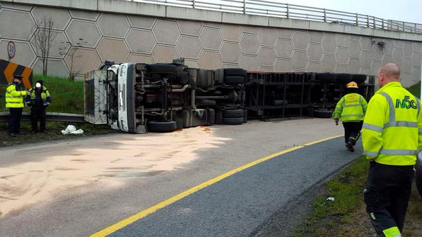 The overturned truck on the M50 this morning