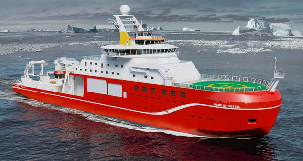 Undated handout artist impression issued by the Natural Environment Research Council (NERC) of the new state-of-the-art polar research ship which will set off for Antarctica in 2019 and the NERC are seeking the public's ideas for the name it should bear on its hull. Photo: NERC/PA Wire