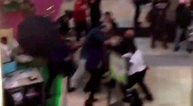 The punch-up in the shopping centre