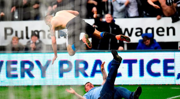 Aleksandar Mitrovic of Newcastle United collides with a fan as he celebrates scoring their first and equalising goal during the Barclays Premier League match between Newcastle United and Sunderland at St James' Park