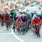 French rider Nacer Bouhanni winds up for the sprint finish on the first stage of the Volta a Catalunya into Calella yesterday. Photo: Josep Lago/AFP/Getty Images
