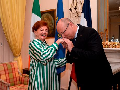 Breege O'Donoghue with the French Ambassador Jean-Pierre Thébault, after receiving her Légion d'Honneur medal. Photo: Caroline Quinn