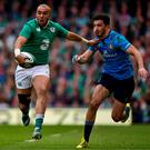 Simon Zebo, pictured skipping past Italy's Leonardo Sarto, sparked the team try of the tournament. Photo: Ramsey Cardy / Sportsfile